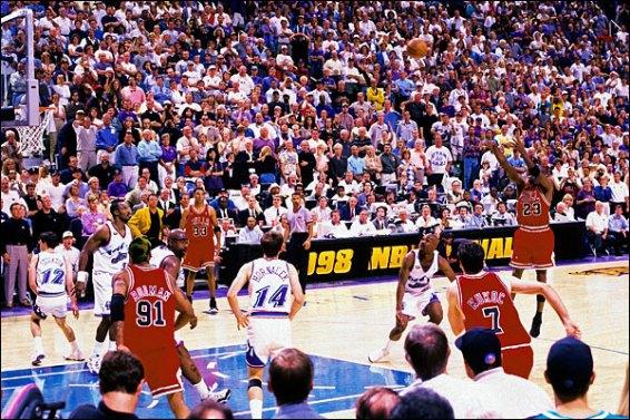Michael Jordan en el tiro que dio el triunfo a los Bulls